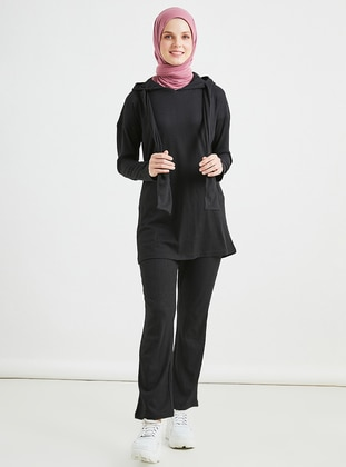 Black - Unlined - Viscose - Suit