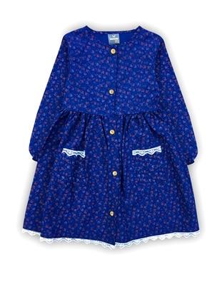 Floral - Crew neck -  - Unlined - Navy Blue - Girls` Dress
