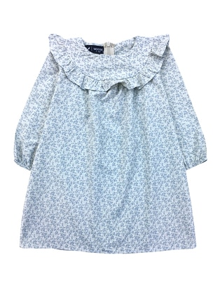 Floral - Crew neck -  - Unlined - Stone - Girls` Dress