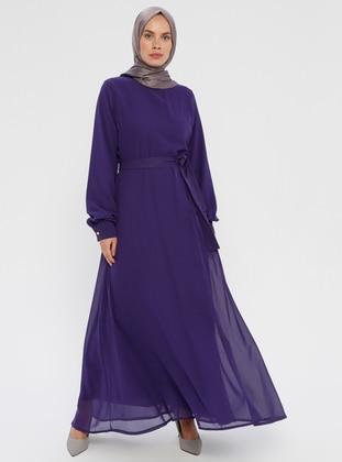 Purple - Purple - Crew neck - Fully Lined - Purple - Crew neck - Fully Lined - Dress