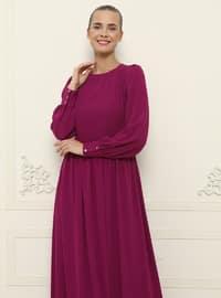 Fuchsia - Crew neck - Fully Lined - Dress