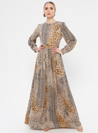 Beige - Leopard - Crew neck - Fully Lined - Dress