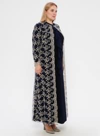 Navy Blue - Navy Blue - Unlined - Polo neck - Modest Plus Size Evening Dress