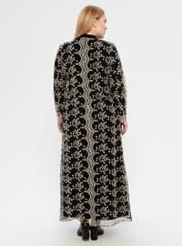 Black - Unlined - Polo neck - Modest Plus Size Evening Dress