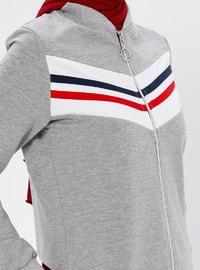 Gray -  - V neck Collar - Tracksuit Set