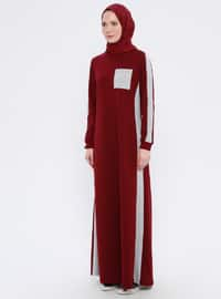 Maroon - Crew neck - Unlined -  - Dress