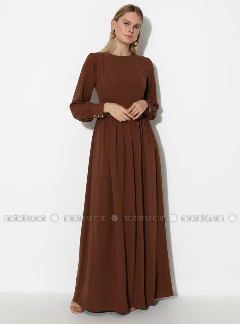 Brown - Crew neck - Fully Lined - Dress