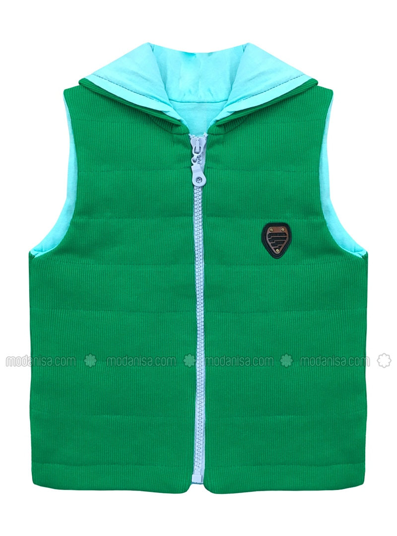 Crew neck -  - Unlined - Green - Boys` Vest