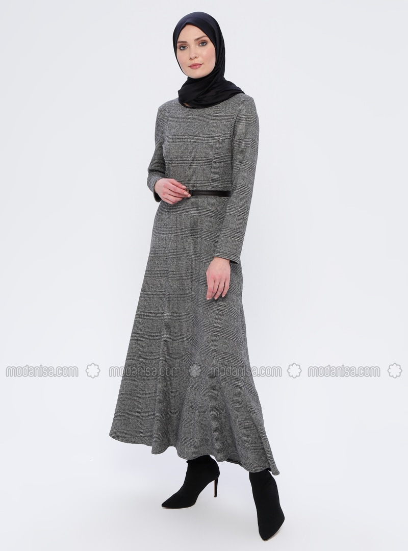 Gray - Checkered - Crew neck - Unlined - Acrylic -  - Dress