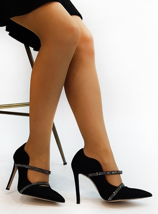 Black - High Heel - Casual - Evening Shoes - Marjin