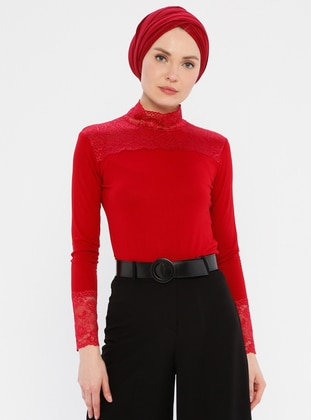 Red - Polo neck - Viscose - Tank - MODAGÜL