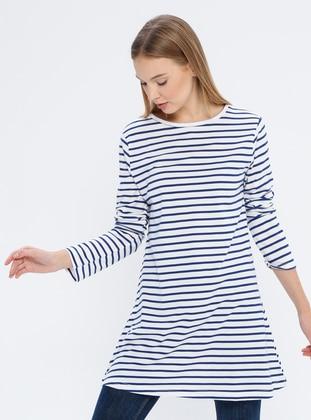 White - Navy Blue - Stripe - Crew neck -  - Tunic