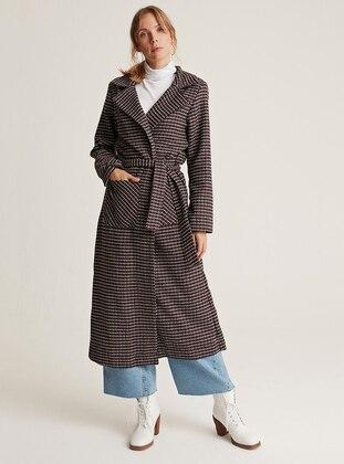 Maroon - Gray - Unlined - Shawl Collar -  - Wool Blend - Coat