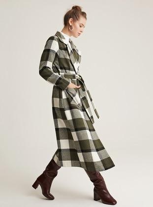 Ecru - Green - Unlined - Shawl Collar -  - Wool Blend - Coat
