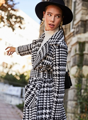 White - Black - Unlined - Shawl Collar -  - Wool Blend - Coat