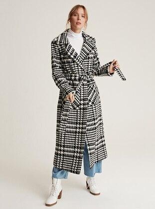 White - Black - Unlined - Shawl Collar -  - Wool Blend - Coat
