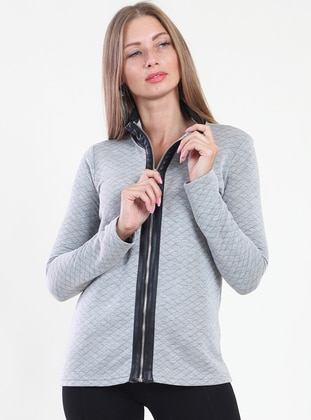 Gray - Polo neck - Cardigan