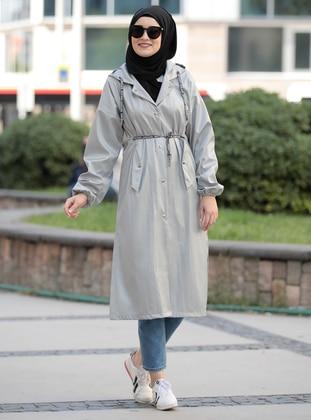 Gray - Unlined - Crew neck - Waterproof - Coat - Rana Zenn