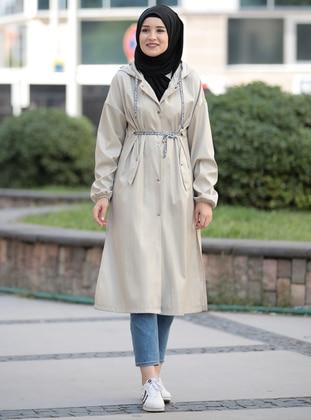 Mink - Unlined - Crew neck - Waterproof - Coat - Rana Zenn