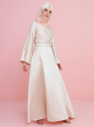 Gold - Gold - Unlined - Crew neck - Muslim Evening Dress