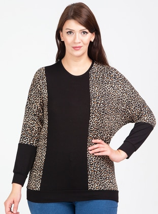 Black - Leopard - Crew neck - Viscose - Plus Size Blouse