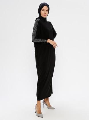Black - Crew neck - Unlined - Viscose - Dress
