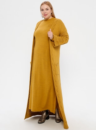 Mustard - Crew neck - Unlined - Acrylic -  - Plus Size Suit