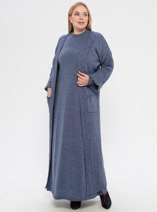 Indigo - Blue - Crew neck - Unlined - Acrylic -  - Plus Size Suit