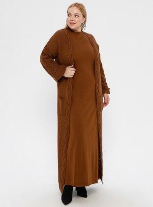 Tan - Crew neck - Unlined - Acrylic -  - Plus Size Suit