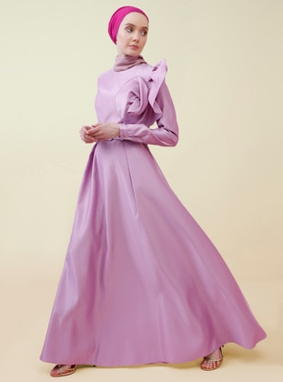Lilac - Unlined - Crew neck - Muslim Evening Dress