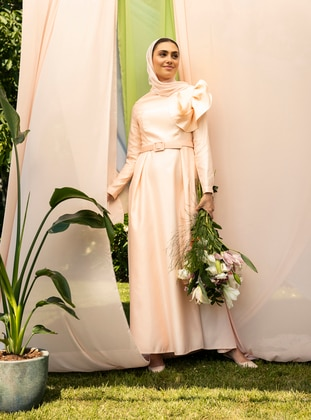 Salmon - Unlined - Crew neck - Muslim Evening Dress