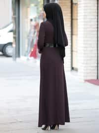 Mürdüm - Yuvarlak yakalı - Astarsız kumaş - Elbise