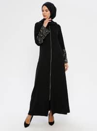 Siyah - Astarsız kumaş - Yuvarlak yakalı - Ferace