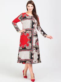 Red - Unlined - Crew neck - Viscose - Plus Size Dress
