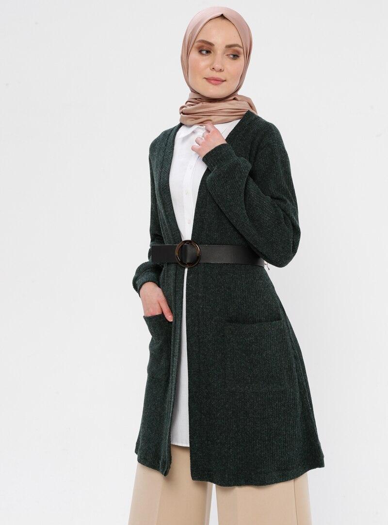 Tesettür Triko Hırka ASYA TESETTÜR Zümrüt Yeşili Kadın 44