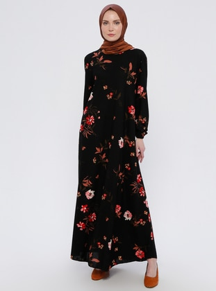 Black - Floral - Crew neck - Unlined - Dress