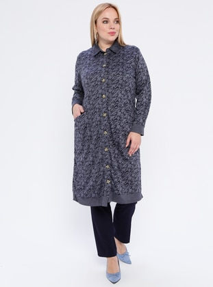 Blue - Multi - Point Collar -  - Plus Size Cardigan