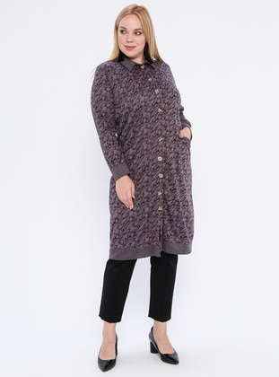 Purple - Multi - Point Collar -  - Plus Size Cardigan