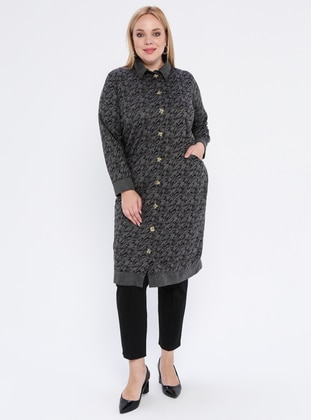 Black - Multi - Point Collar -  - Plus Size Cardigan