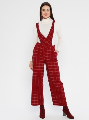 Maroon - Checkered - Unlined - V neck Collar - Jumpsuit - Fashion Light
