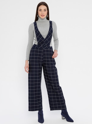 Navy Blue - Checkered - Unlined - V neck Collar - Jumpsuit - Fashion Light