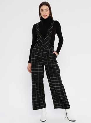 Black - Checkered - Unlined - V neck Collar - Jumpsuit - Fashion Light