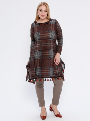 Brown - Multi - Crew neck -  - Plus Size Poncho - Genç Style