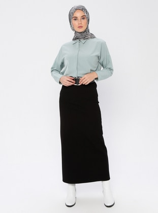 Black - Unlined -  - Viscose - Skirt