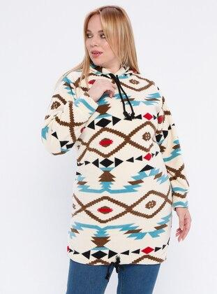 Multi - Cream - Multi -  - Plus Size Tunic