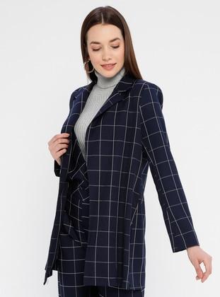 Navy Blue - Checkered - Unlined - Shawl Collar - Jacket