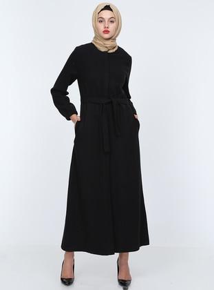Black - Unlined - Crew neck - Acrylic - - Coat