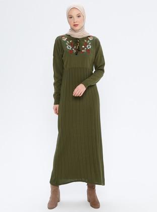 Khaki - Crew neck - Unlined - Acrylic -  - Wool Blend - Dress