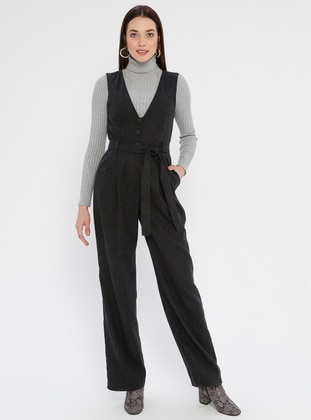 Anthracite - Half Lined - V neck Collar -  - Jumpsuit