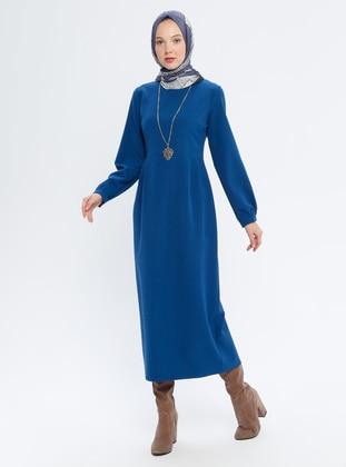Indigo - Indigo - Blue - Crew neck - Unlined - Dress